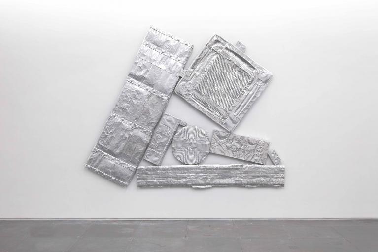 Andrew Luk, Junkspace Compression, 2019, Aluminium, fiberglass, wood, 212 x 265 cm