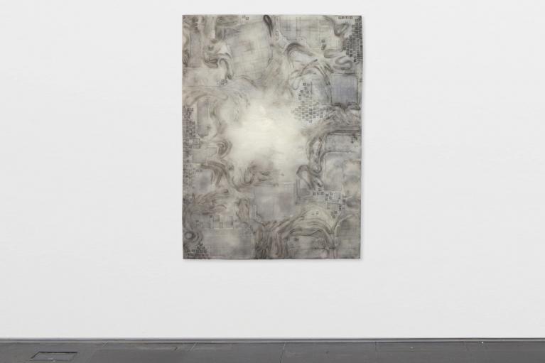 Andrew Luk, Deep Earth Event Horizon No.2, 2021. Resin, dye, silicon carbide, 160 x 110 cm.