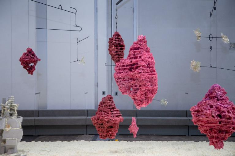 Andrew Luk, Haunted Salvaged, 2020-21, Polystyrene, steel, spray foam, concrete, sea glass, polyurethane, mirror, Dimensions variable.