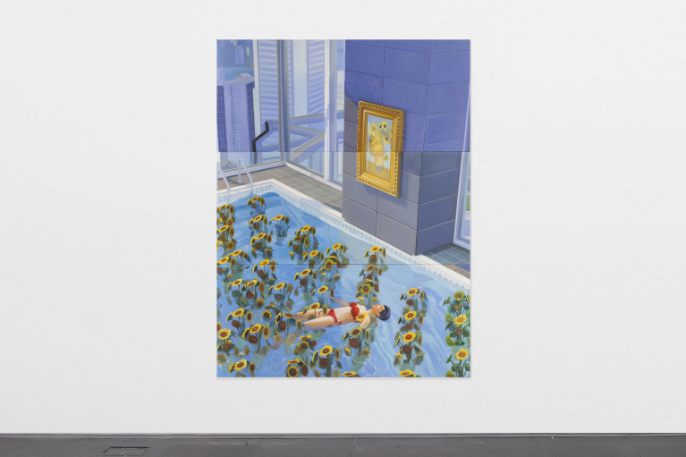 Mak Ying Tung 2, Home Sweet Home: Sunflower Pool 7, 2021.   Acrylic on canvas, triptych, 200 x 150 cm (Each panel 66.7 x 150 cm).
