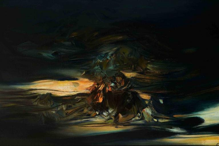朱德群,抽象构图,1970-71年作,油彩 画布,146 x 245 厘米