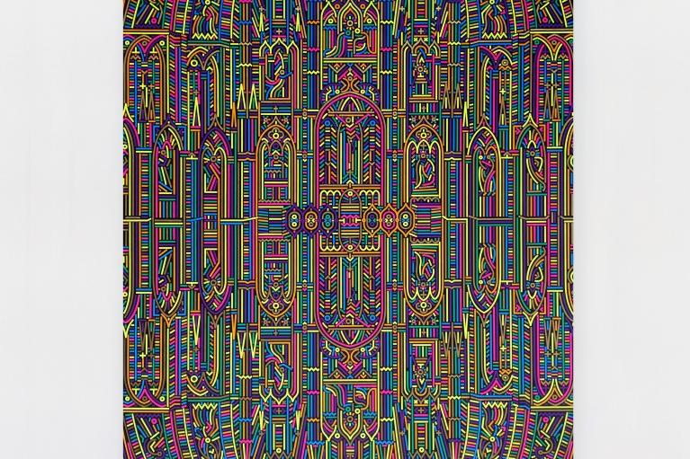 陸新建,倒影-巴黎聖母院 No. 3,2018. 布面丙烯,200 x 145 cm.