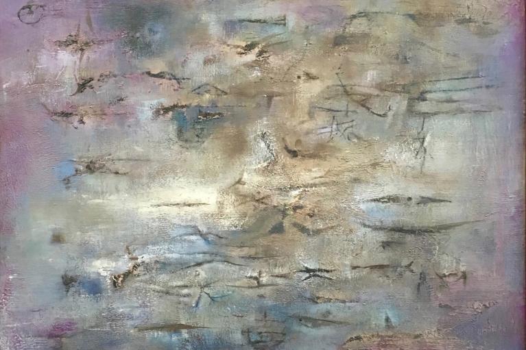 赵无极,鱼,1955年作,油画 画布,73.3 x 54.3 厘米