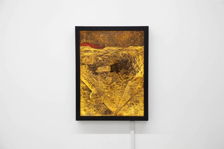 Andrew Luk, Horizon Scan No. 2, 2017. Epoxy resin, polystyrene plastic, canvas on board, LED lights, 54x41.5 cm