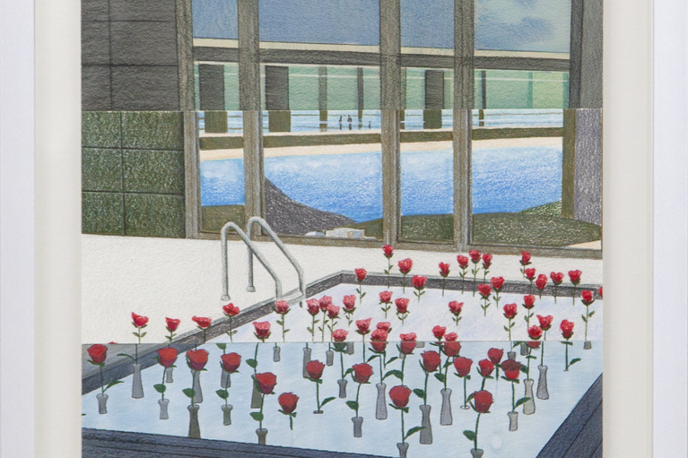 Mak Ying Tung 2, Home Sweet Home: Rose Pool RAW, 2020, Colored pencil on paper, triptych, 40 x 30 cm