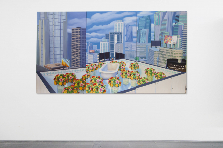 Mak Ying Tung 2, Home Sweet Home: Flower Tub Pool 2020 1, 2020, Acrylic on canvas, triptych, 120 x 213 cm (Each panel 120 x 71 cm)