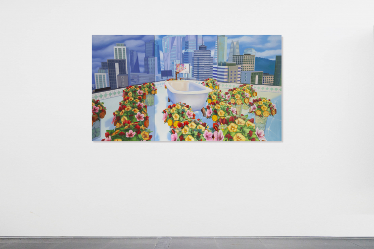 Mak Ying Tung 2, Home Sweet Home: Flower Tub Pool 2020 3, 2020, Acrylic on canvas, triptych, 85 x 150 cm (Each panel 85 x 50 cm)