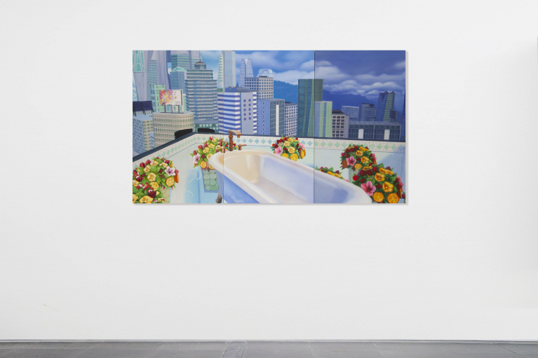 Mak Ying Tung 2, Home Sweet Home: Flower Tub Pool 2020 2, 2020, Acrylic on canvas, triptych, 85 x 150 cm (Each panel 85 x 50 cm)
