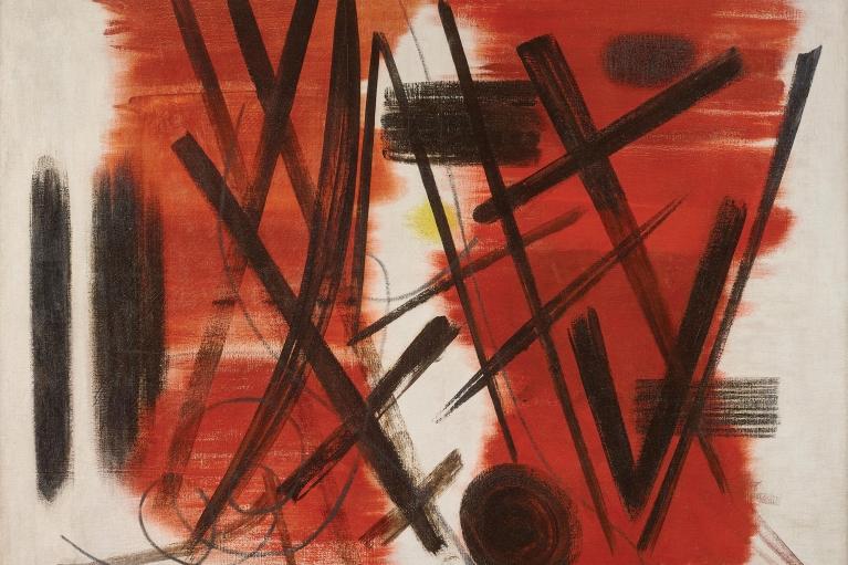 Hans Hartung, T1949-4, 1949. Oil on canvas, 89 x 116 cm