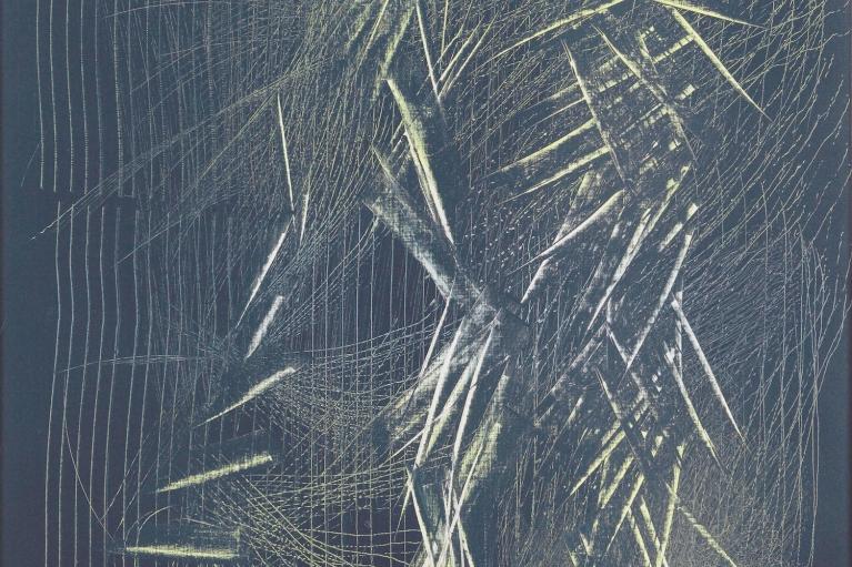Hans Hartung, T1964-H47, 1964. Vinylique on canvas, 180 x 111 cm.