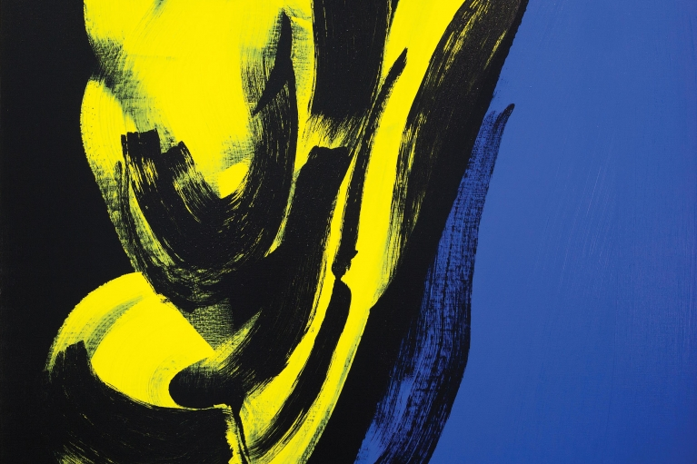 Hans Hartung, T1973-E14, 1973. Acrylic on canvas, 142 x 180 cm.