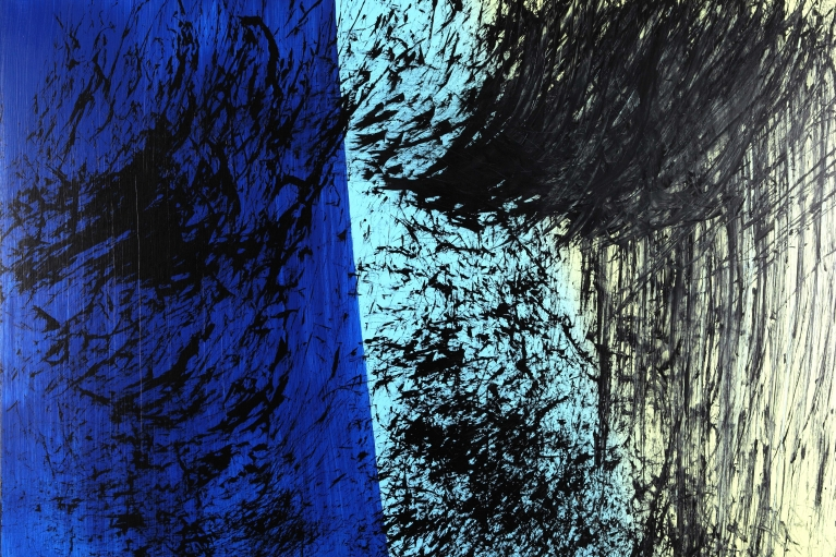 Hans Hartung, T1981-E46, 1981. Acrylic on canvas, 180 x 250 cm.