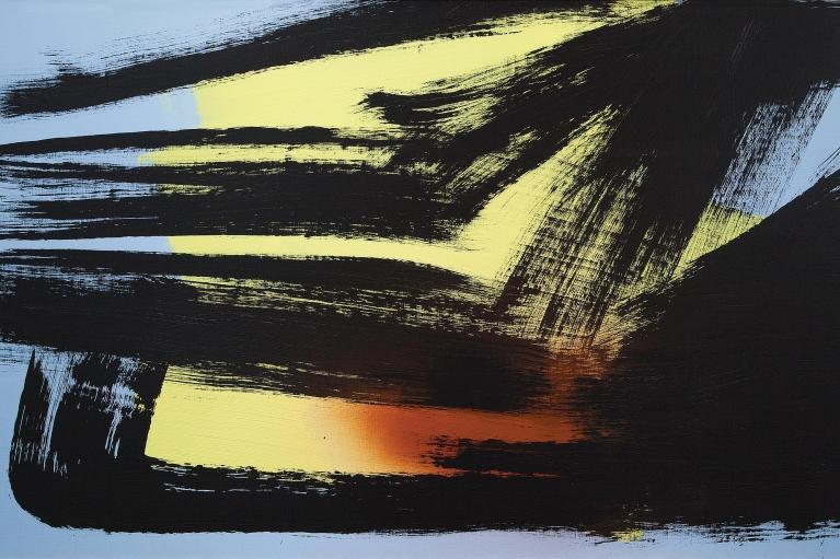 Hans Hartung, T1981-H28, 1981. Acrylic on canvas, 100 x 162 cm.