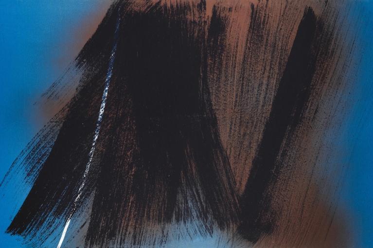 Hans Hartung, T1983-E31, 1983. Acrylic on panel, 100 X 162 cm.