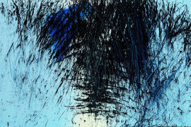 Hans Hartung, T1983-E34, 1983. Acrylic on wooden panel, 100 x 162 cm.