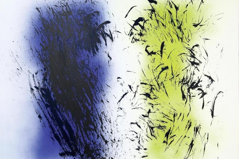 Hans Hartung, T1985-E9, 1985. Acrylic on canvas, 154 x 195 cm.