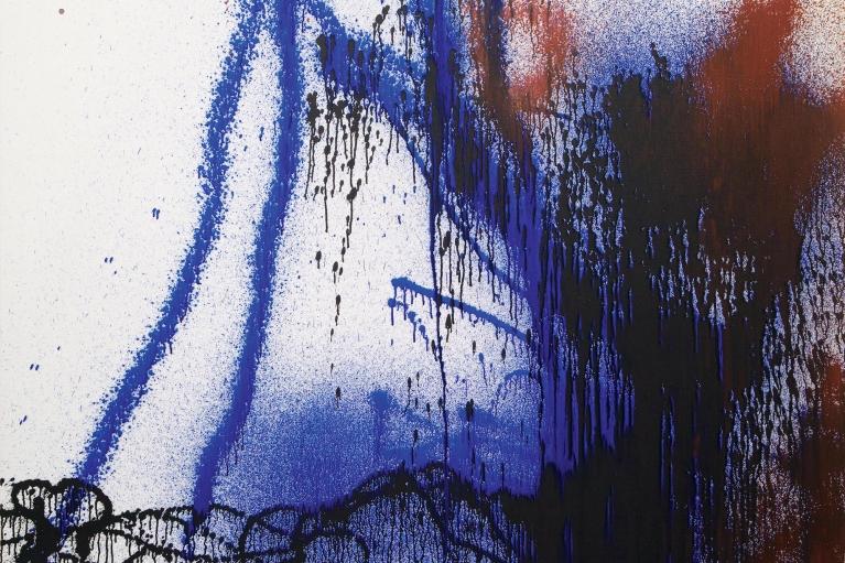 Hans Hartung, T1988-R29, 1988. Acrylic on canvas, 142 x 180 cm.