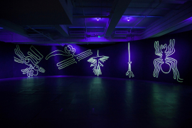 Liang Ban, Neon Wilderness: Nazca Lines (Detail), 2018. Paint, fluorescent powder, dimensions variable.