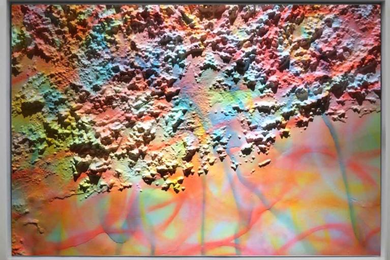 梁半,大地魔术师,2016. 3D地图, 夜光喷漆,80 x 100 cm.