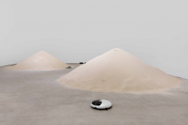 Mak Ying Tung 2, Mr. Fool Wants to Move the Mountains, 2018. Robotic vacuum cleaners, sand, Dimensions variable.