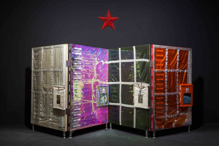 Qin Lingsen, Index of Human, 2016. Installation-wood panel, parachutes, canvas, 162 x 100 cm x 4