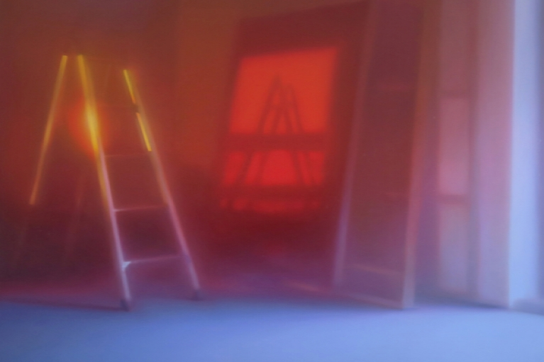 马思博,红色维度,2017. 布面油画,100 x 100 cm.