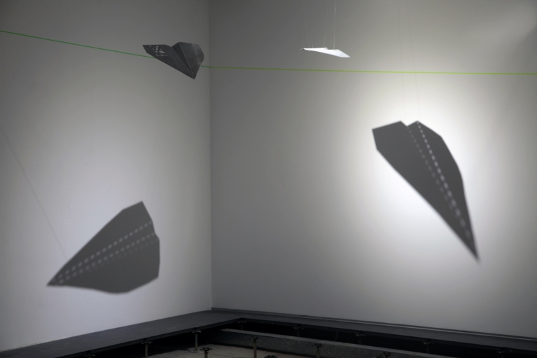 Chistopher K. Ho, Feeling Plane 1 & 2, 2018. 75% perforated aluminum, 59.8 x 37.6 x 0.1 cm each. Edition of 3.