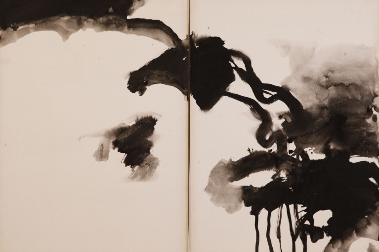 T'ang Haywen (1927-1991), Untitled, 1971-1973, ink on Kyro card, diptych, unsigned, 70 x 100 cm.