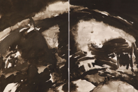 T'ang Haywen (1927-1991), Untitled, 1971-1973, ink on Kyro card, diptych, unsigned, 70 x 100 cm. From a private collection.