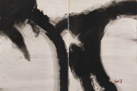 T'ang Haywen (1927-1991), Untitled, 1973, ink on Kyro card, diptych, signed 'T'ang'; Signed in Chinese 'Haywen (Haiwan)', lower right; inscribed by the artist, verso, right side: