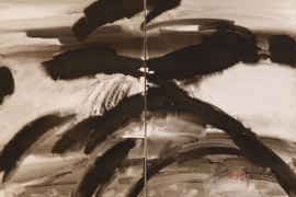 T'ang Haywen (1927-1991), Untitled, c. 1970, ink and watercolor on Kyro card, diptych, signed 'T'ang'; signed in Chinese 'Haywen (Haiwan)', lower right, 70 x 100 cm. From a private collection.