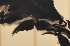 T'ang Haywen (1927-1991), Untitled, before 1973, ink on Kyro card, diptych, unsigned, 70 x 100 cm. From a private collection.