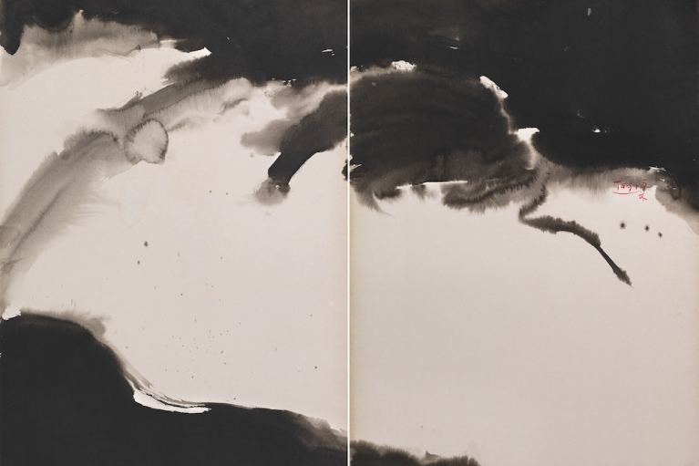 T'ang Haywen (1927-1991), Ceil Interieur (Inner Sky), 1971, ink on Kyro card, diptych, Signed middle right Inscribed by the artist on verso: 'ciel interieur', 70 x 100 cm. From a private collection.