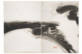 T'ang Haywen (1927-1991), Untitled, 1972, acrylic ink and watercolor on Kyro card, diptych, signed 'T'ang'; signed in Chinese 'Haywen (Haiwan)', lower right, 70 x 100 cm. From a private collection.