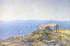 Theodore van Rysselberghe, L'llle du Levant, Vue du Cap Benat, 1983, Oil on canvas, 45.1 x 65 cm, Signed with monogram, lower right