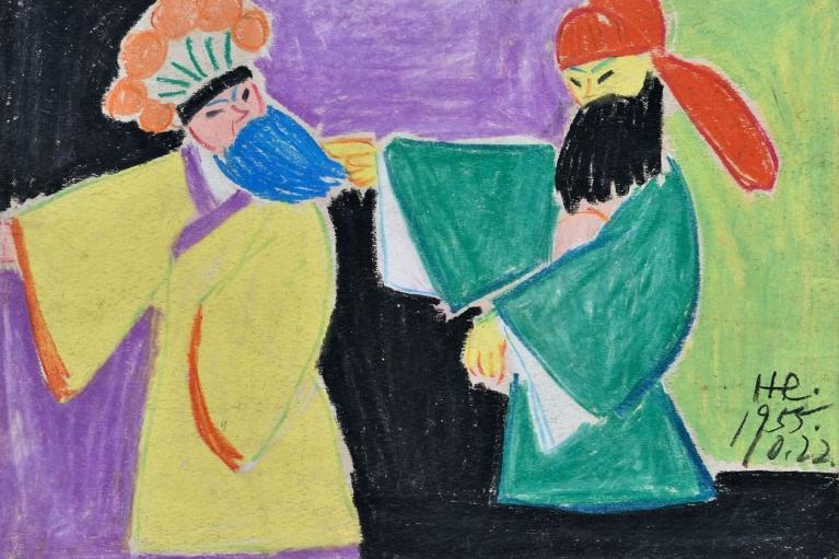 萧勤, 京剧人物4, 1956, 纸本粉蜡, 26 x 36.5 厘米