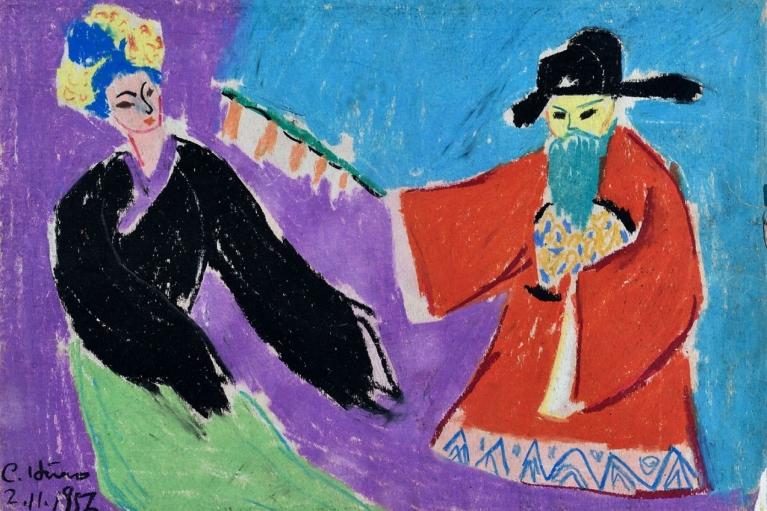 蕭勤, 京劇人物 5, 1956, 紙本粉蠟, 27 x 38 厘米