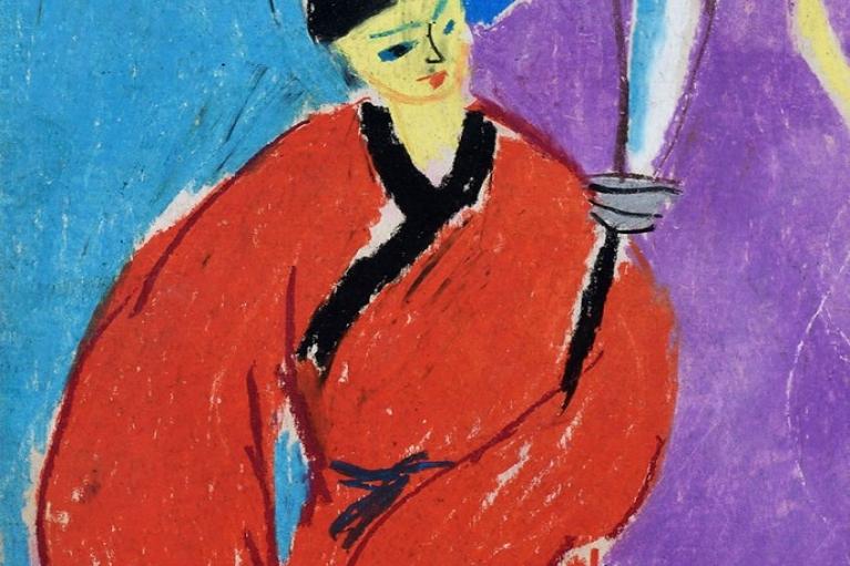 蕭勤, 京劇人物 6, 1956, 紙本粉蠟, 27 x 20.5 厘米