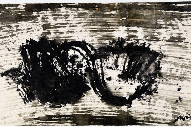 蕭勤, 虛, 1961.09.16, 水墨紙本, 30 x 58 厘米