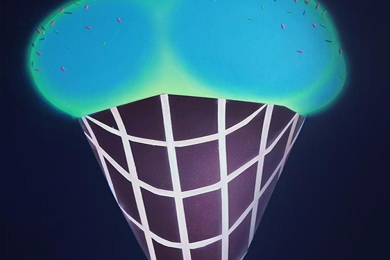 Sun Yitian, 宇宙甜筒, 2015, 布料广告彩, 100 x 67厘米