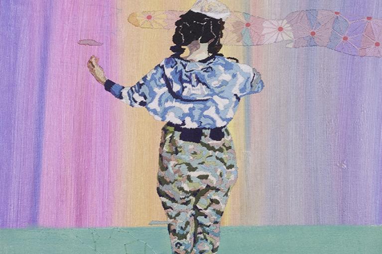 天齐, 乐, 2014, 广告彩,手缝布料, 40 x 30 厘米