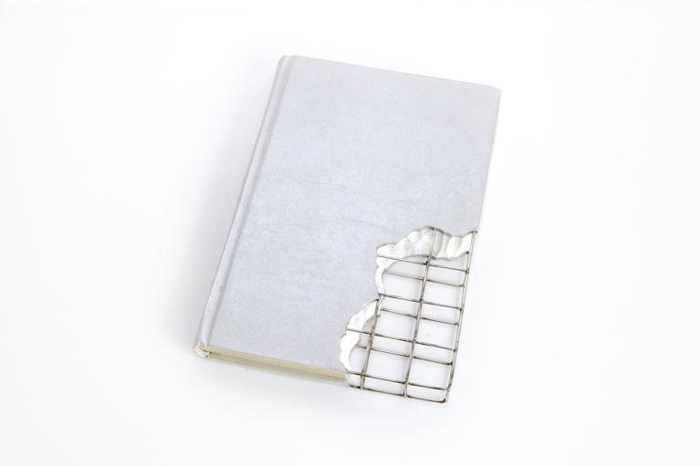 周文斗,书的修复 - 倾城之恋,2003,书,不锈钢丝,25 x 15 x 3 厘米