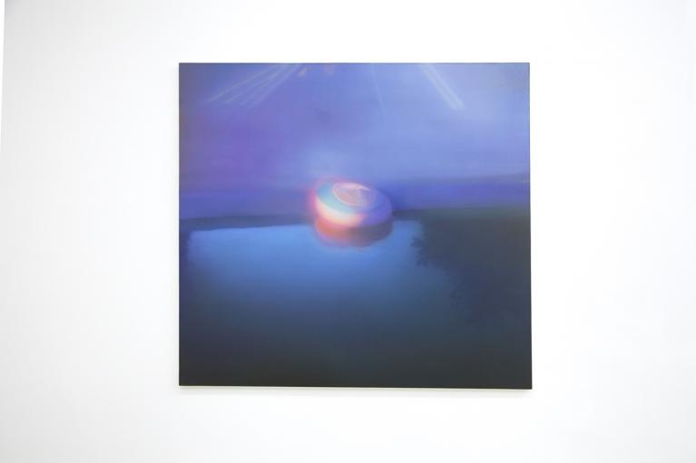 马思博, 橡皮筏, 2012, 布料油画, 140 x 150厘米