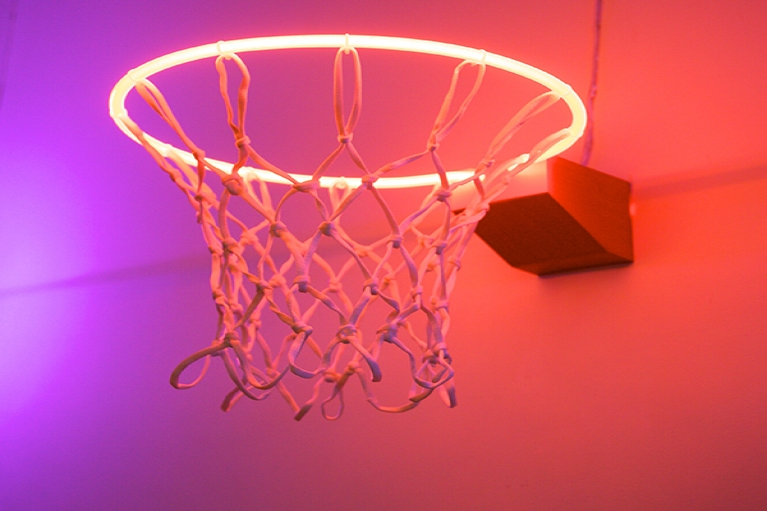Zhou Wendou, Fragile State - Orange, 2013, Neon light, basketball net, aluminium board, 37 x 37 x 50 cm
