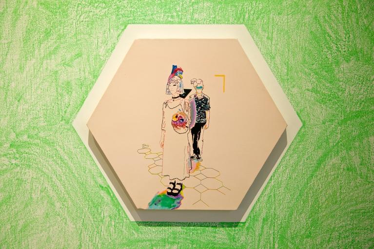 天齐, 粉色棉花糖, 2015, 广告彩,手缝布料, 90 x 90厘米