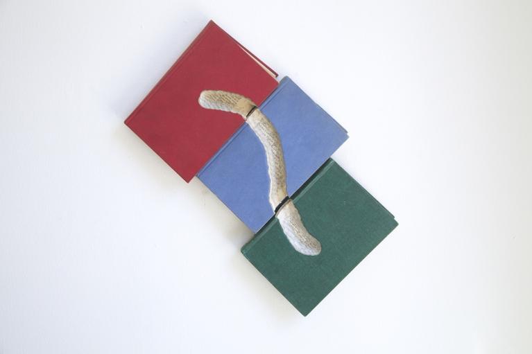 周文斗,书虫系列 2,2009,书,25 x 41 x 4 厘米