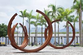 Bernar Venet, Arcs in Disorder: 3 Arcs x 5, 2003-2008, Cor-ten steel, 410 x 415 x 90 cm