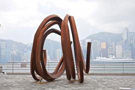 Bernar Venet, Two Indeterminate Lines, 2010, Rolled Steel, 260 x 250 x 380 cm