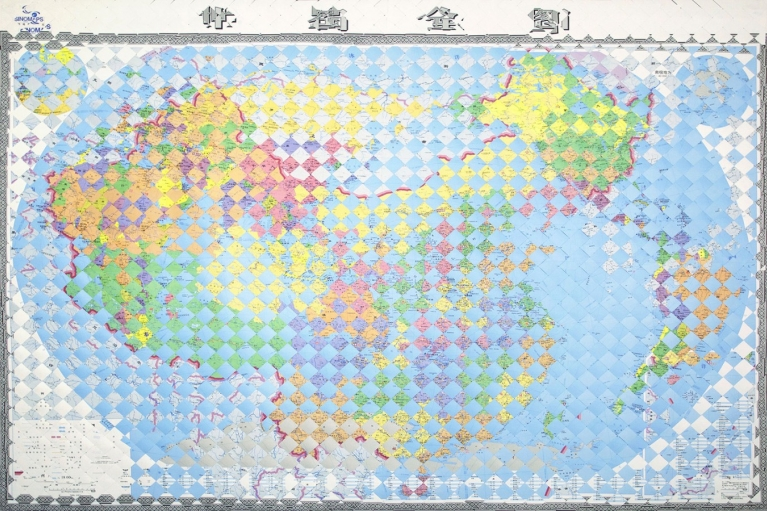 Zhou Wendou, You are My New Neighbor, 2015, Map, Aluminum board, 141 x 195 cm
