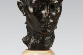Masque de Madame Rodin (Masque de Rose Beuret), Augeste Rodin, conceived c.1882, executed in 1913, Bronze with black and green patina, 26 x 17.5 x17 cm